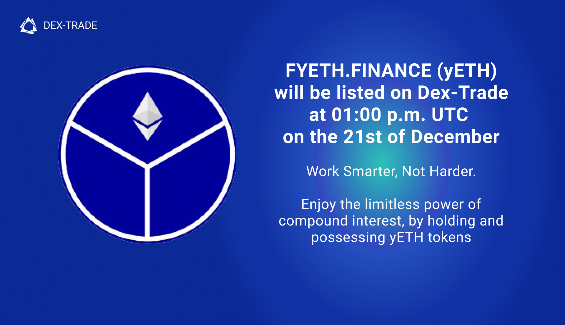 FYETH.FINANCE (yETH) will be listed on Dex-Trade Exchange