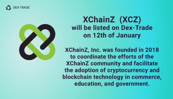 XChainZ (XCZ) is listed on Dex-Trade Exchange
