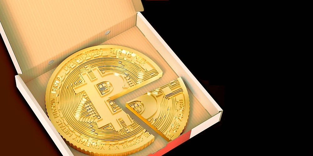 Image of a bitcoin coin in the form of a pizza