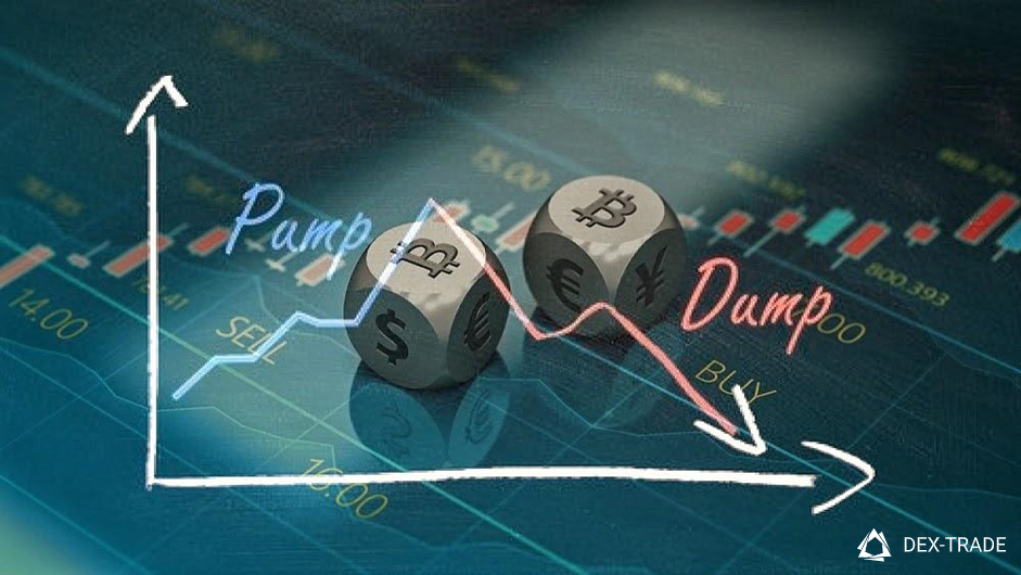 image of stock charts and dice with cryptocurrency logos