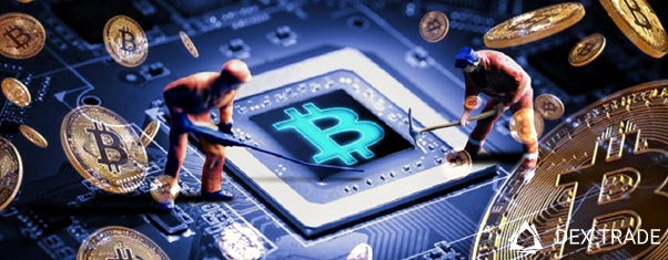 image of miners on the background of a computer board